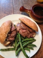 Beef Dips with sauteed Green Beans